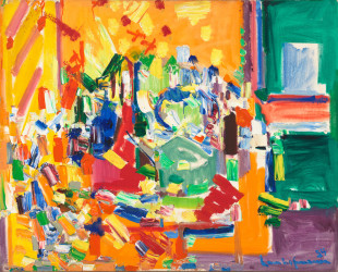 Hans Hofmann Orchestral Dominance in Yellow, 1954 Olio su tela