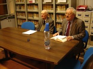 Lo storico Roberto Vivarelli con Giuseppe Parlato ad un incontro della Fondazione Spirito