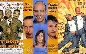 Il trio composto da Aldo Giovanni e Giacomo in alcuni poster dei popolari film che hanno girato