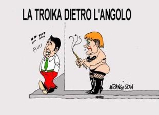 La vignetta di Krancic: La troi…ka dietro l'angolo: Merkel attende Renzi al varco