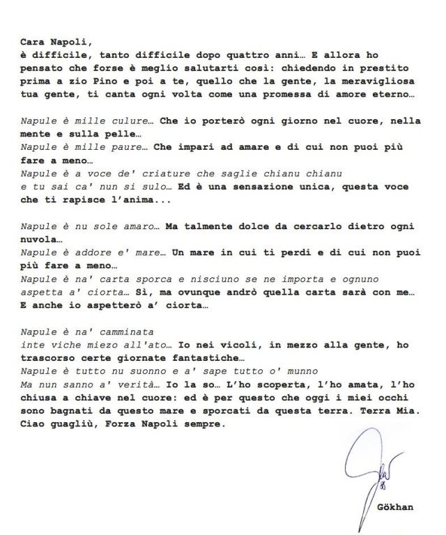 Calcio il lungo addio di inler che scrive la sua lettera for Puoi ottenere un prestito per la terra