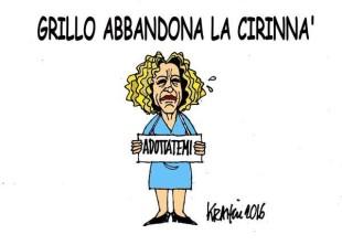 La piroetta di Beppe Grillo: libertà di coscienza per M5S sulla Cirinnà (la vignetta di Krancic)
