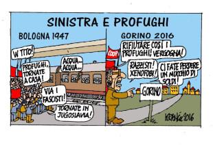 Quando i profughi non piacevano alla sinistra (vignetta di Krancic)