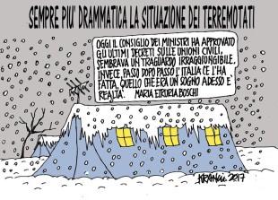 Il dramma dei terremotati visto da Maria Etruria Boschi (vignetta di Krancic)