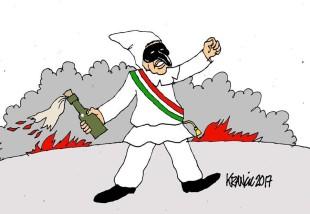 Le pulcinellate di de Magistris per la giornata di Salvini a Napoli (viste da Krancic)
