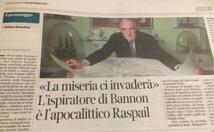 Jean Raspail a pagina 11 del Corriere della Sera in un articolo di Stefano Montefiori
