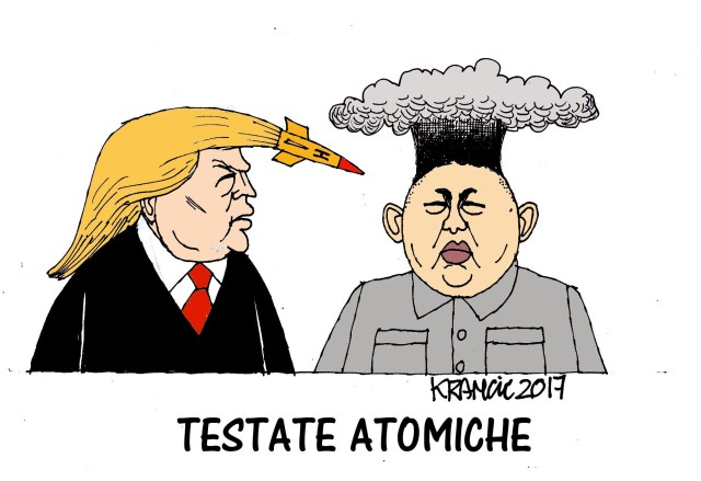 Dopo i missili sulla base dell'esercito siriano Trump guarda ad oriente e pensa di regolare i conti con la Corea del Nord. La vignetta di Krancic mostra come sarà un duello tra testate atomiche...