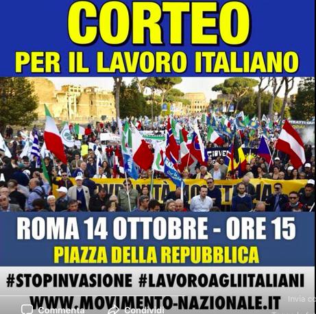 Roma, Storace e Alemanno (MNS) guidano corteo contro immigrati
