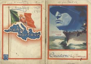 Un quaderno con la bandiera della Marina al tempo di Mussolini