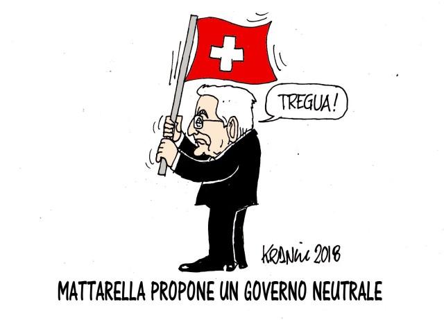 """Ecco la vignetta di Alfio Krancic sulla supercazzola del """"governo neutrale"""". La Svizzera nell'Italia dei guelfi e ghibellini..."""