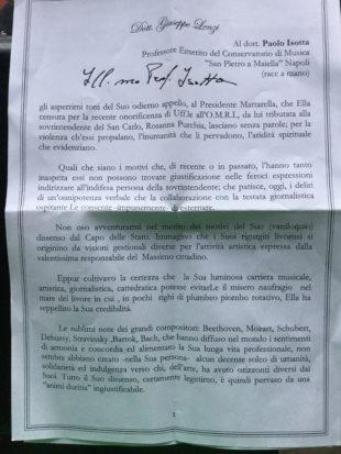 """La lettera. """"Sui riconoscimento di Mattarella da Isotta toni troppo aspri"""", la replica"""