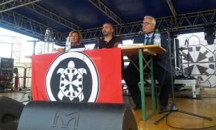 Adriana Poli Bortone con Simone Di Stefano e Mario Borghezio alla festa nazionale di CasaPound a Lecce