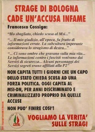Il manifesto del Msi dopo le scuse pervenute da Francesco Cossiga