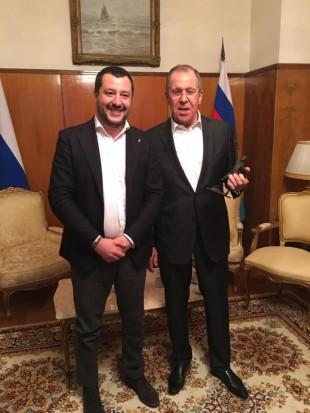 Salvini e il ministro degli esteri russo Lavrov