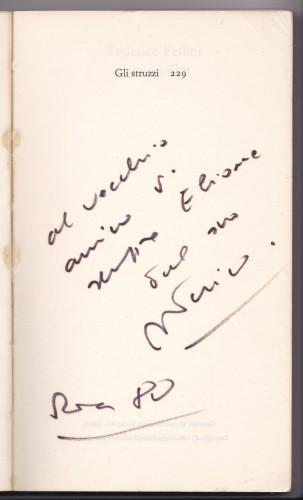 Collezione Garrera: autografo con dedica di Federico Fellini