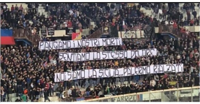 Calcio. Lo striscione solidale degli ultras del Catania