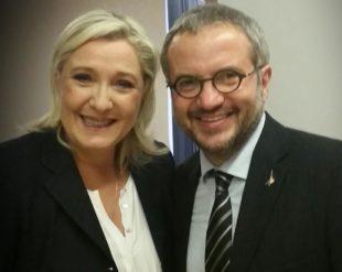 Marine le Pen con il leghista Claudio Borghi