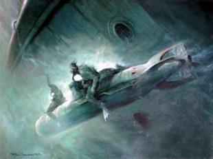 Un quadro che raffigura Teseo Tesei in azione