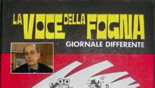 La testata de La Voce della Fogna, diretta da Marco Tarchi (nella foto piccola)