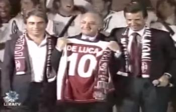 De Luca alla festa promozione della Salernitana nel 2008